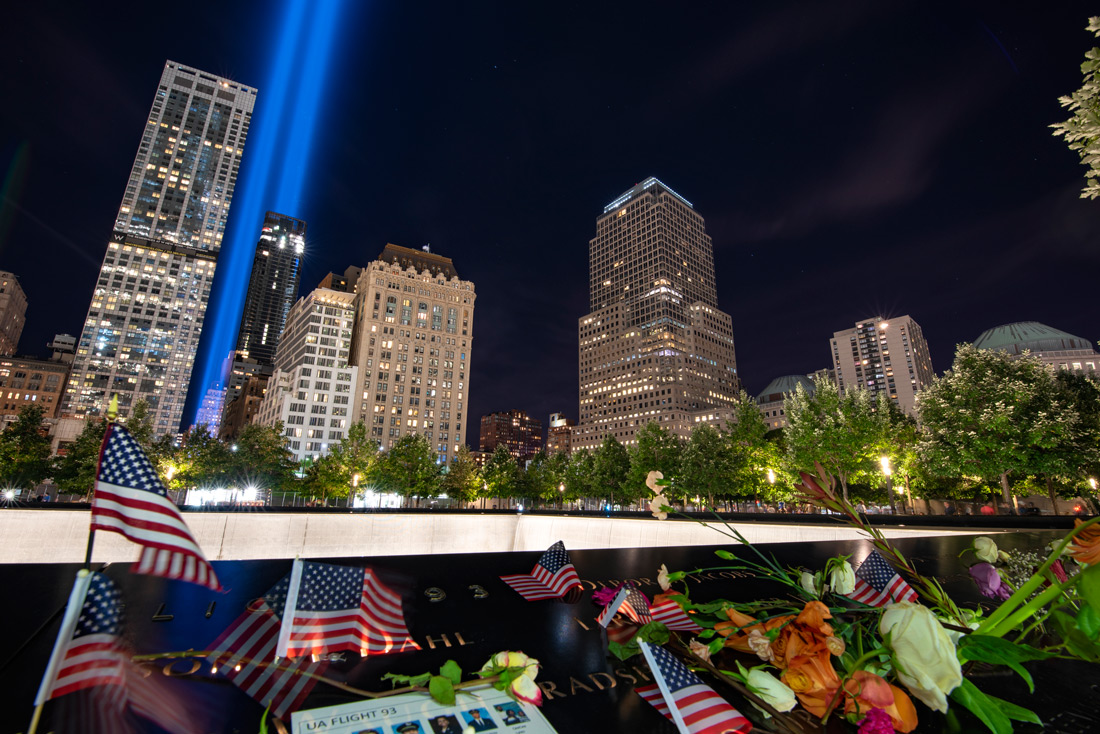 New York 9/11 Memorial and Museum with tribute in light