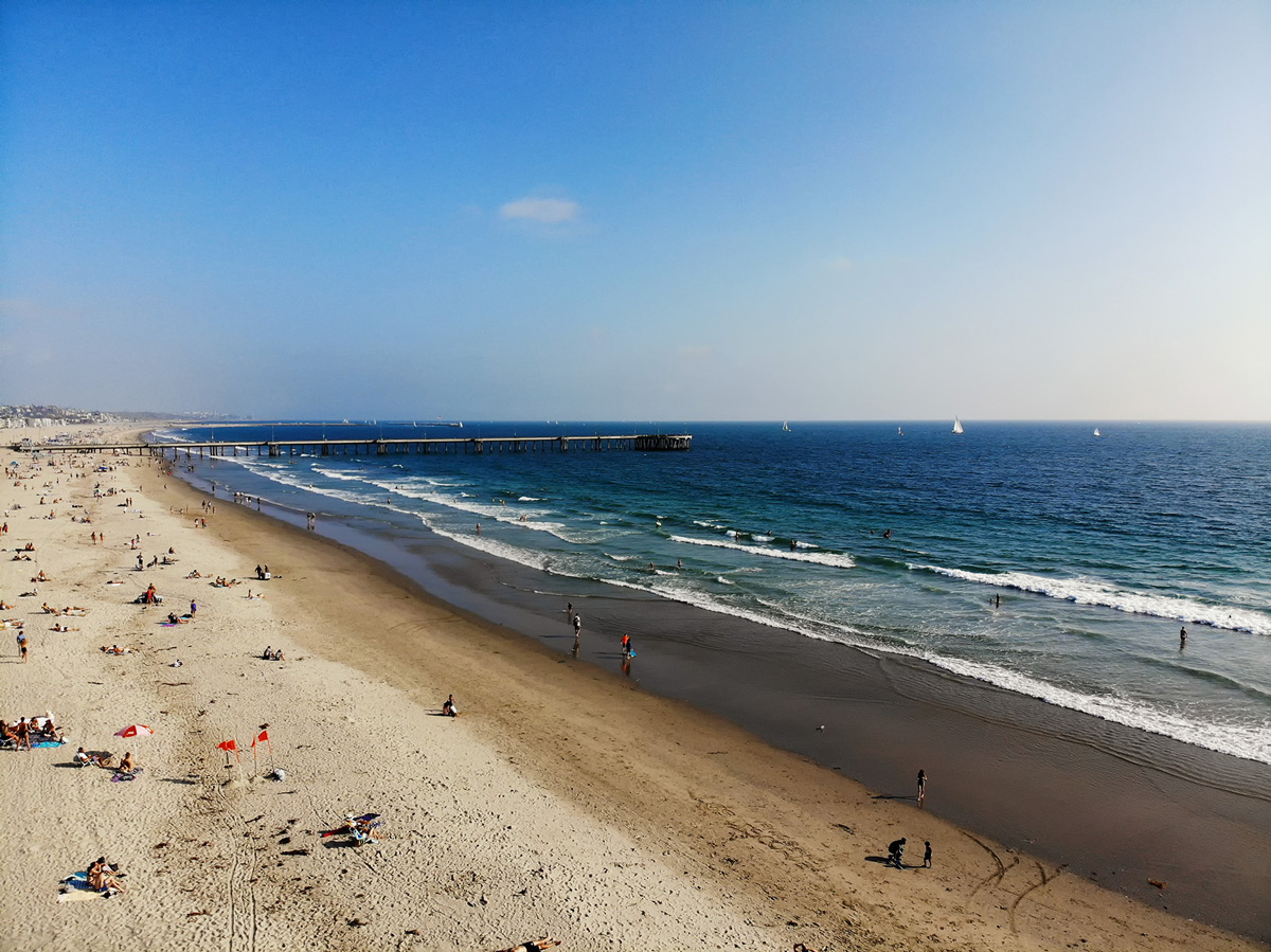 Los Angeles Venice beach from drone