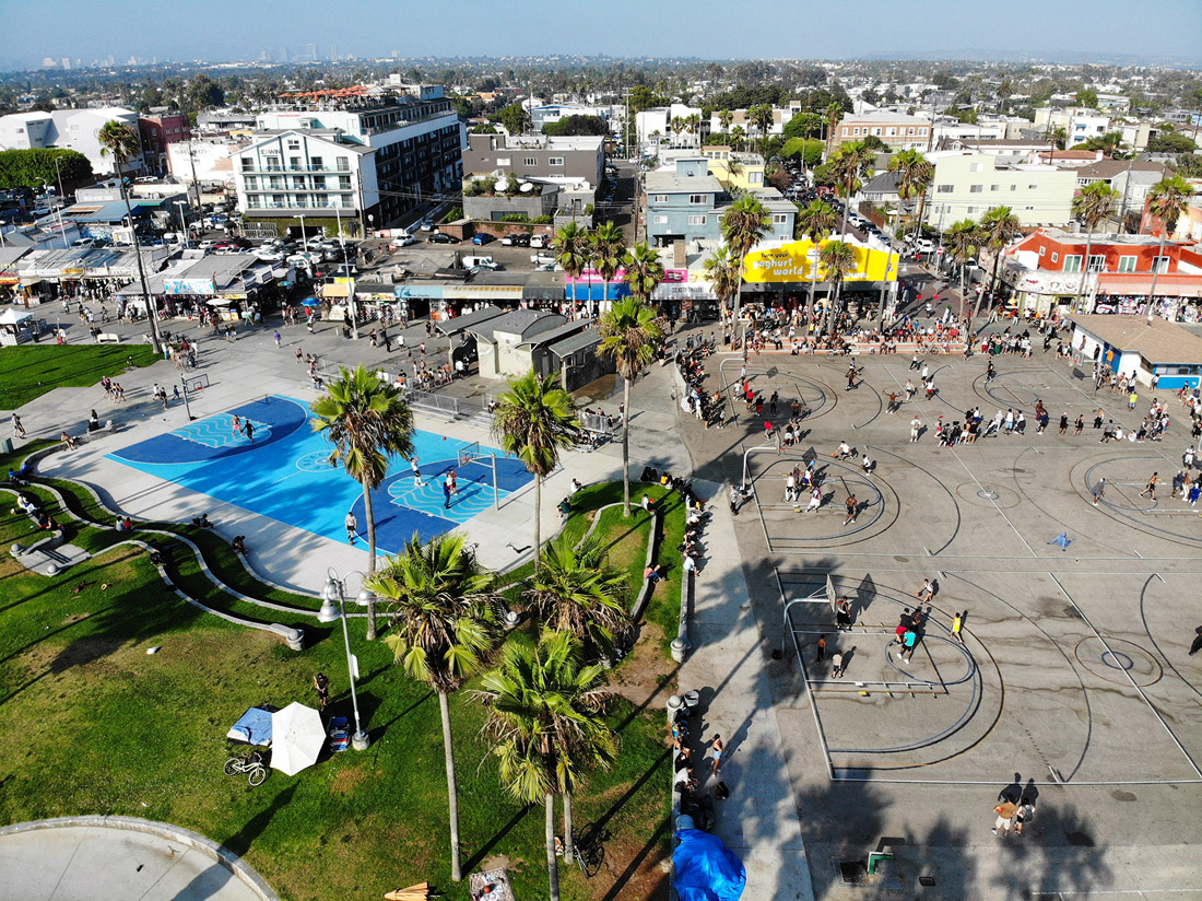 Los Angeles Muscle beach from drone