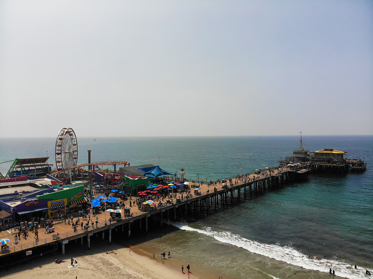 Los Angeles Santa Monica Pier from drone