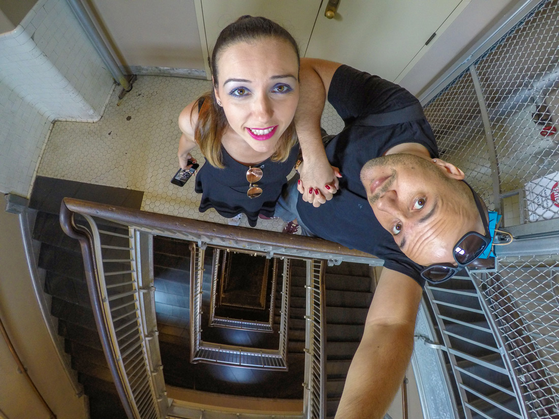 Tugce Anil selfie statue of Liberty stairs New York