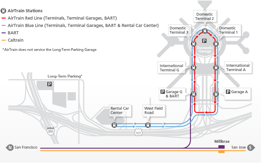 SFO AirTrain map