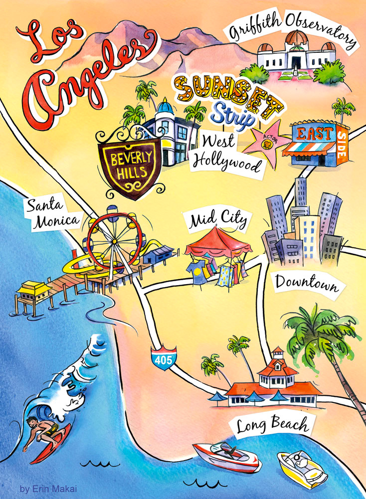 Los Angeles cartoon map