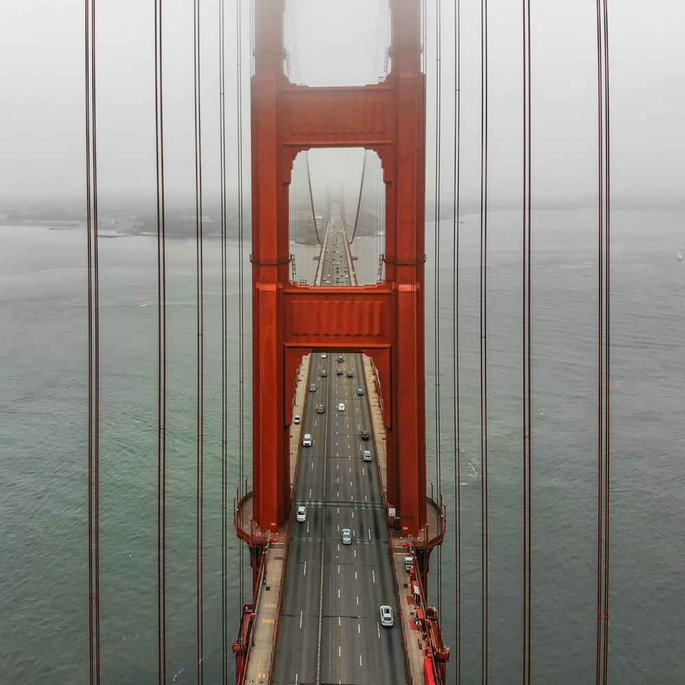 San Francisco Golden Gate drone view