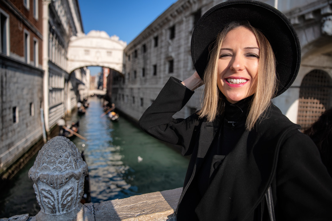 Photo in front of Bridge of Sighs in Venice